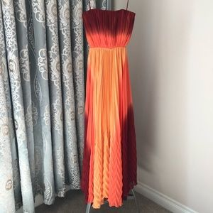 ALICE & OLIVIA Strapless Chiffon Maxi Dress